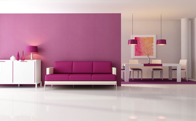 Wandfarbe lila